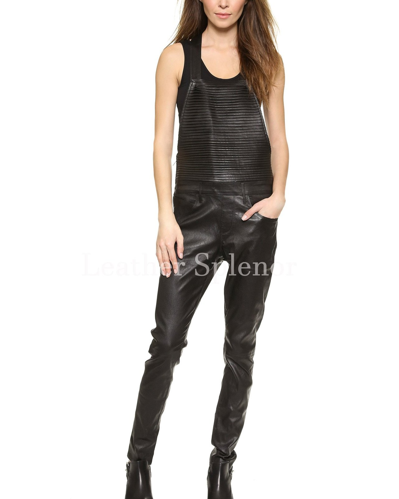 Quilted Panel Women Leather Jumpsuit