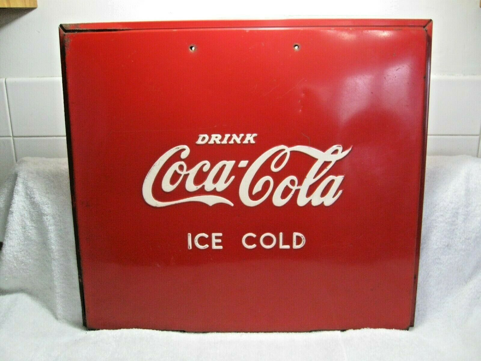 Primary image for Vintage Collectible Rare COCA-COLA Embossed Cooler Lid-Wall Art-Restoration Part