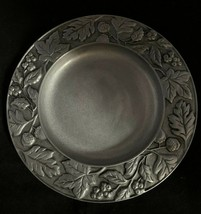 "Longaberger Falling Leaves and Acorns 8"" Pewter Candle Plate 2001 Fall Autumn - $15.88"
