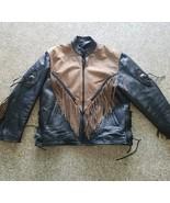 UNIK Leather Motorcycle Jacket ~ Sz XXL ~ Black & Brown ~ Fringed - $52.24