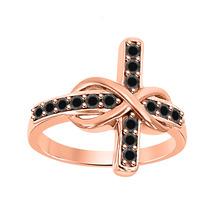 0.50 ct Round black Diamond 18K Rose Gold Over 925 Silver Infinity Cross Ring - $72.24