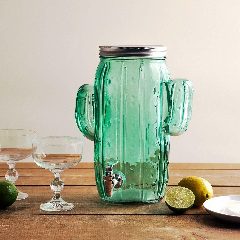 Homephile Beverage Drink Dispenser Glass Cactus One (1) Gallon Screw Lid spigot
