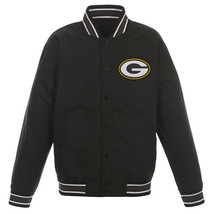 NFL Green Bay Packers Poly Twill Jacket Black  With One Patch Logo  JH Design - $99.99