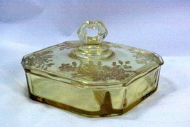 Paden City 1930 Ardith Yellow 2 Part Divided Lidded Candy Dish - $90.08