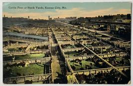 Old Divided Back Postcard Cattle Pens at Stock Yards, Kansas City, MO Us... - $19.55