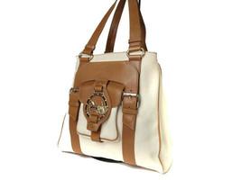 Authentic CELINE Logo Mark Canvas Leather Cream Browns Tote Bag CT11263L - $179.00