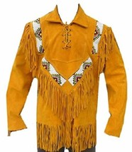QASTAN Men's New Native American Tan Buckskin Suede Leather Beaded Shirt FJ152 - $157.41