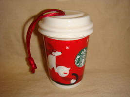 Starbucks 2011 Red Holiday To Go Cup Ornament Ceramic No Packaging - $11.83