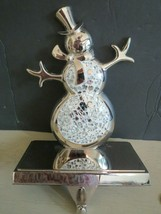 Silver Snowman Christmas Stocking Holder Hook Glass Mirror Mosaic by Kurt Adler - $15.35