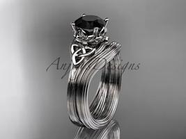 Black Diamond Bridal Set 14kt White Gold Celtic Trinity Knot Unusual CT7240S - $1,250.00