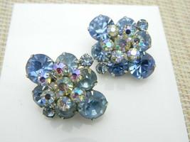 Light Blue Clear AB Rhinestone Glass Diamond Shape Clip Earrings Vintage - $27.72