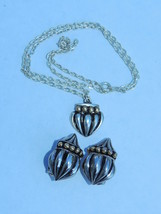 Vtg Modernist matching Clip on earrings and Necklace pendant set - $12.16