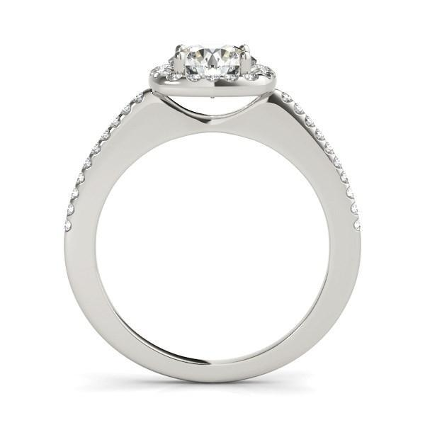 14k White Gold Pave Style Slim Shank Diamond Engagement Ring (1 1/8 cttw)