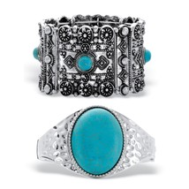 "2-Piece Simulated Turquoise Hammered and Stretch Silvertone Bracelet Set 7"" - $34.99"