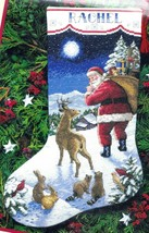 Dimensions Santas Arrival Deer Snow Christmas Eve Cross Stitch Stocking ... - $38.95