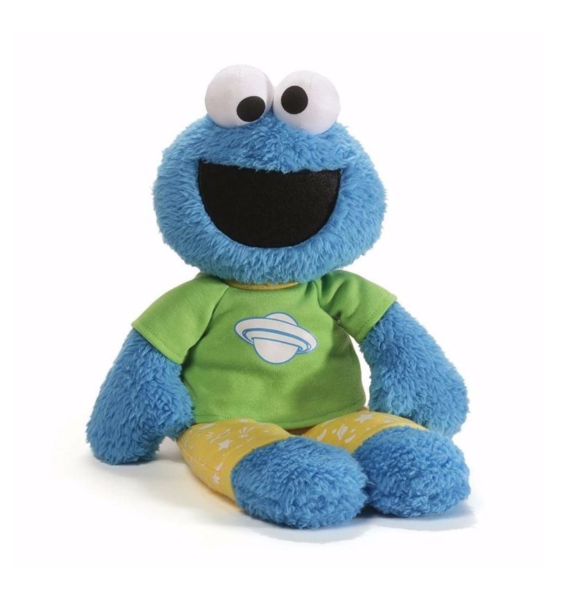 "Gund Sesame Street 16"" Plush COOKIE MONSTER PAJAMA PAL Glow In The Dark ~NEW~"