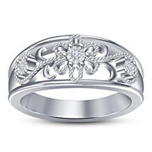 Beautiful Engagement Band Ring In White Gold Plated 925 Silver Round Cut... - $71.88