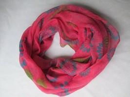 Infinity Scarf Circle Pink MOD Floral Starburst Blue Green Rayon Cowl Blush - $16.83