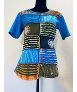 The Collection Royal Colorful Patchwork shirt top tee large - $28.12