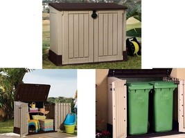 Outdoor Plastic 4x2.5 Ft Storage Shed Horizontal Garden Garage Tool Util... - $189.80