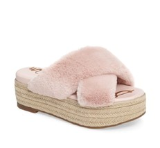 New SAM EDELMAN sz 8M/8.5M pink faux fur zia platform slip on sandal $90 - $38.50