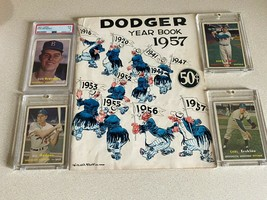 ORIGINAL 1957 DODGER LOT (4)PLUS ORIGINAL 57 BASEBALL PROGRAM IN VG COND... - $371.25