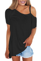Black Cold Shoulder Short Sleeve Loose Fit Tops - $19.08