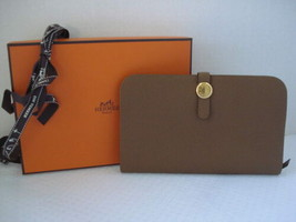 NIB Hermes Alezan Gold Veau Togo GM Duo Combined Dogon Wallet - $2,299.99