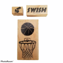Stampin Up! Just Basketball Rubber Stamps Retired Net & Ball Swish Whist... - $12.99