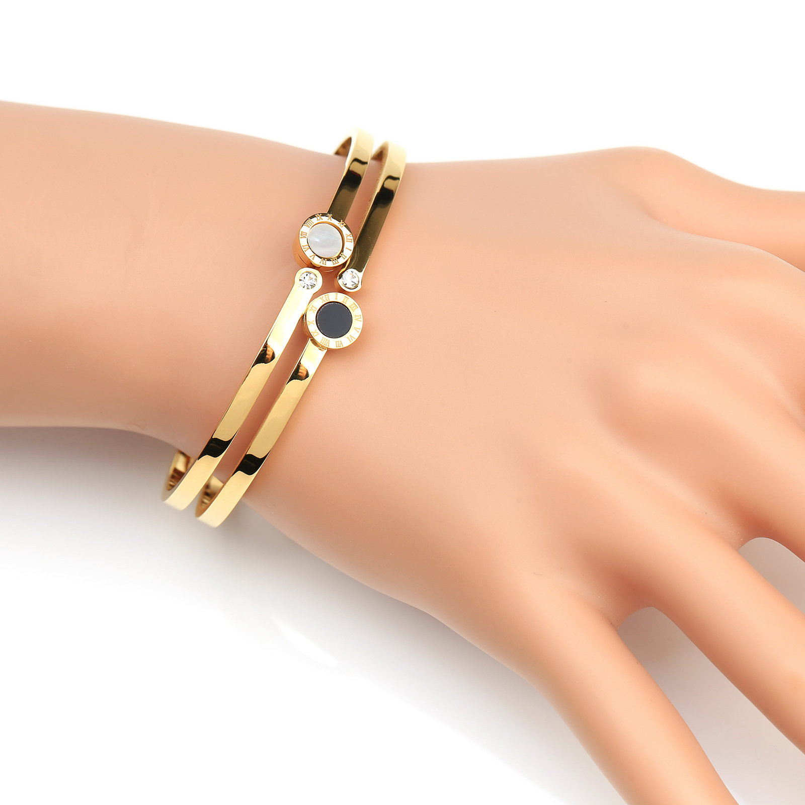 Primary image for UE- Designer Bracelet With Swarovski Style Crystals, Faux Mother of Pearl & Onyx