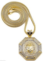 Medusa Necklace New Iced Out 8 Sided Octagon Pendant With 36 Inch Franco Chain - $37.66