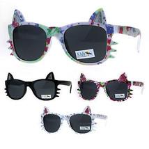 Childern Size Flower Print Kitty Ear Whisker Horn Rim Girls Sunglasses - $9.95