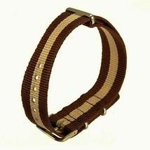 20mm X 255mm Nato Canvas Nylon wrist watch Band strap BEIGE BROWN P2 - $10.42