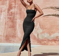 Ship From USA !!!   Women Maxi Mesh Dress  2020 Bodycon Mesh Dress Sexy V Neck P image 3