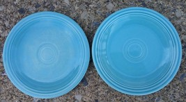 Vintage Old Fiesta Turquoise Two 6-1/4' Plates Saucer Homer Laughlin Fiestaware - $19.64