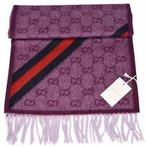 NEW Gucci 429255 Violet Pink Angora Wool Web GG Guccissima Scarf - $329.00