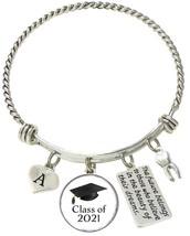Custom Class of 2021 Graduation Dentist Tooth Silver Bracelet Gift Initial Charm - $17.09