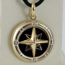 18K WHITE YELLOW GOLD ONYX 16 MM WIND ROSE COMPASS PENDANT, STAR, MADE IN ITALY image 1