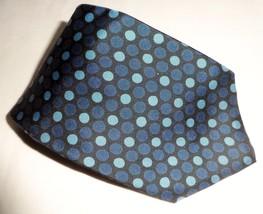 Structure Men's 100% Silk Neck Tie Black Blue White Polka Dots Made In USA  - $6.99