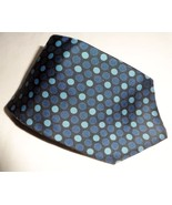 Structure Men's 100% Silk Neck Tie Black Blue White Polka Dots Made In USA  - $6.99