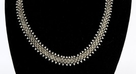 Vintage .950 Sterling Silver Layered Floral Beaded Popcorn Chain Necklac... - $80.99