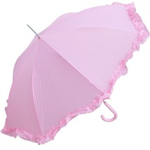 RainStoppers Women's Open Parasol Umbrella with Ruffle, Pink, 48-Inch - $32.87