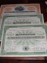 ( 3 ) Pennsylvania Salt Manufacturing 2 Stock Certificates 1930s 1940s - $12.00