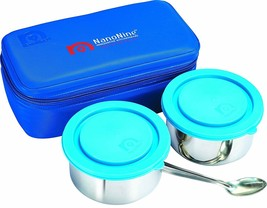 NanoNine Midday Meal Stainless Steel Lunch Box Set, 2-Pieces, Blue - $43.93
