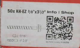 Hilti 418058 KH EZ Concrete Masonry Screw Anchor Silver 3/8 x 3 1/2 50 pcs image 4