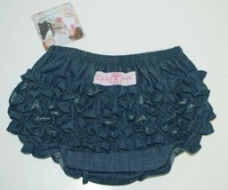 RuffleButts Faux Denim Infant Bloomers Size 12 to 18 Months Color Dark Blue image 2