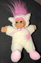 "Troll Doll 6"" Russ Plush Soft Body Easter Lamb Sheep Pink Hair Vintage - $15.83"
