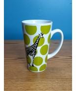 Clay Art Stoneware Coffee Mug Lime Polka Dot Giraffe - $8.90
