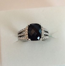 David Yurman Sterling Silver Petite Black Onyx & Diamond Wheaton Ring Size 6 - $292.05
