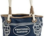 JKC Studios Blue Cotton Canvas Emotional Baggage Tote Bag With Rope Handles, By